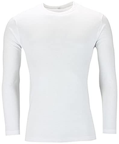 New Mens Long Sleeve T Shirt Muscle Top Tee Plain Crew Neck Casual Formal Fitted Gym Black White (L, White)