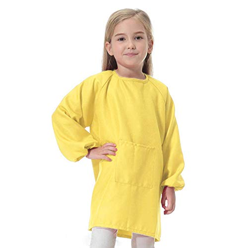 Lange Kinder Malschürze mit langen Ärmeln für Kleinkinder, Jungen und Mädchen, wasserdicht, zum Malen, Backen, Kochen und Malen, Größe L, Gelb