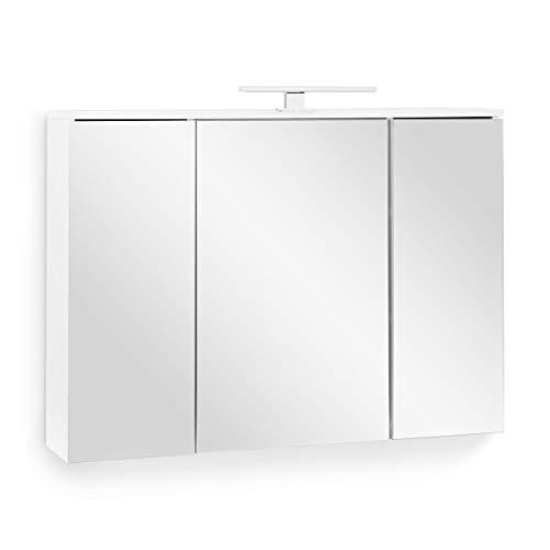 Galdem Easy Spiegelschrank 100cm Badezimmerschrank Wandschrank Badmöbel 3 Spiegeltüren 6 Einlegeböden LED Beleuchtung mit Steckdose Weiß