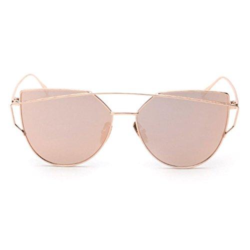 OverDose Twin-Träger klassische Frauen Metallrahmen Spiegel Sonnenbrille Cat Eye Brillenmode (A)