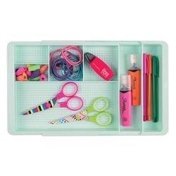mDesign organiseur de bureau extensible à 47 cm (largeur) – plateau de rangement pratique pour matériels de bureau ou tiroirs – module de rangement marker, gommes – plastique, vert menthe