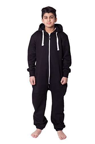 Unisex Kids Girls Boys Plain Colour Fleece Hooded Onesie Jumpsuit 7-13 Years