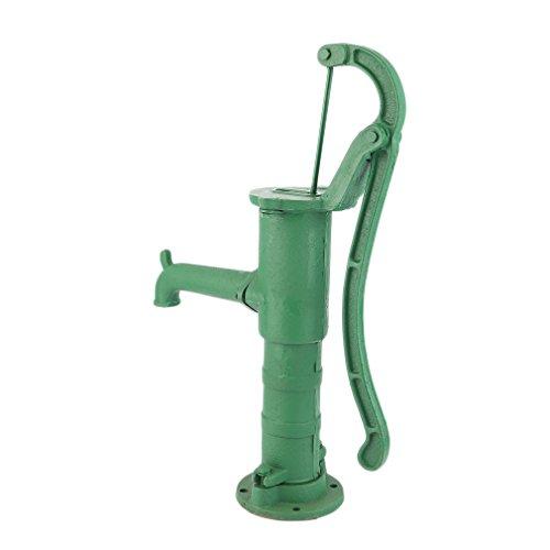 Grün Nostalgie Garten Schwengelpumpe aus Gusseisen, Gartenpumpe Handschwengelpumpe Wasserpumpe Handpumpe, 65 x 24 x 18 cm(L x W x H)