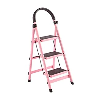 AYLS Household Folding Ladder Stool Creative Multifunctional Kitchen High Bench Simple Indoor Step Chair Portable 3-Step,Pink