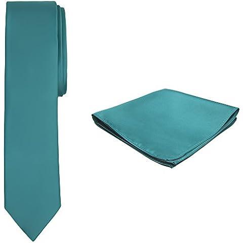 Jacob Alexander Color Sólido Skinny corbata y pañuelo para hombre, color verde azulado
