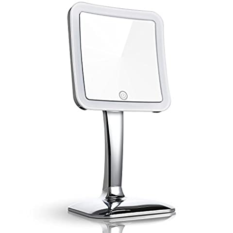 Miusco 7X Magnifying LED Lighted Tabletop Makeup Cosmetic Mirror, Touch Activated, 5.2 inch, Square,