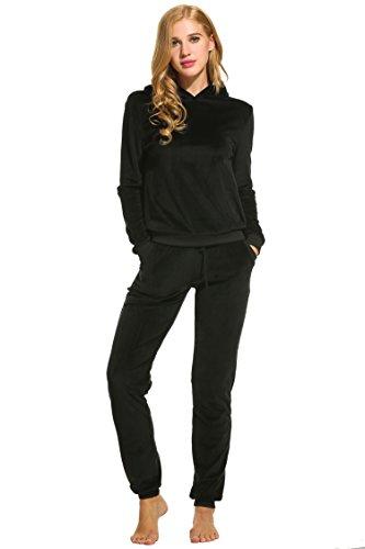 Unibelle Damen Trainingsanzug Jogginganzug Jumpsuit Kapuzenpullover Hose Hausanzug Tracksuit Freizeitanzug Schwarz