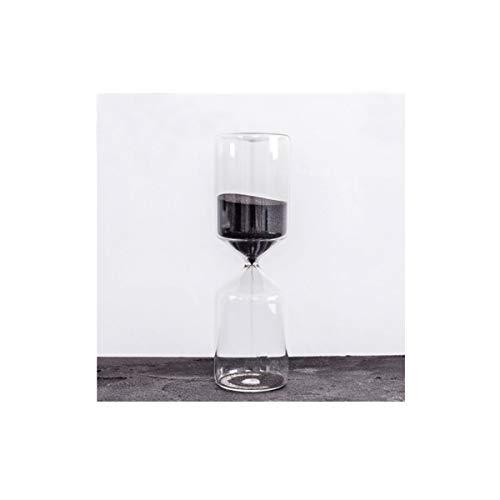 Aishanghuayi-ou clessidra, stile di design di stile cilindrico, 10/15/30 minuti, realizzato in materiale di vetro, adatto come regalo (nero, grande/medio/piccolo) durevole (size : large)