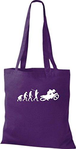 ShirtInStyle Stoffbeutel Jute Evolution Motorrad Biken Stunt Freebike Biker diverse Farbe lila
