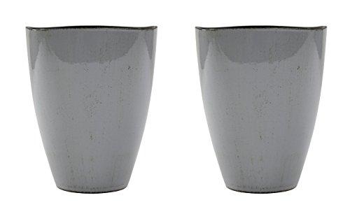 Decoline Kunststoff Blumentopf 2 Stück Grau