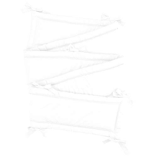 Sugarapple Rundum Nestchen, Bettnestchen & Bettumrandung, Länge 360 cm für Baby & Kinderbetten 120x60 cm, 100% Baumwolle, Uni Weiß