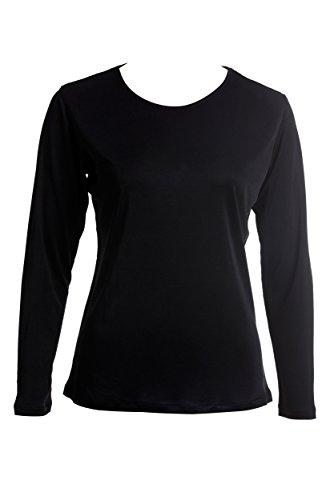 SUPERIOR NATURALS, Damen T-Shirt, Shirt, Langarm, Rundhals-Ausschnitt, 100% Seide, Interlock, Schwarz, S, 36/38