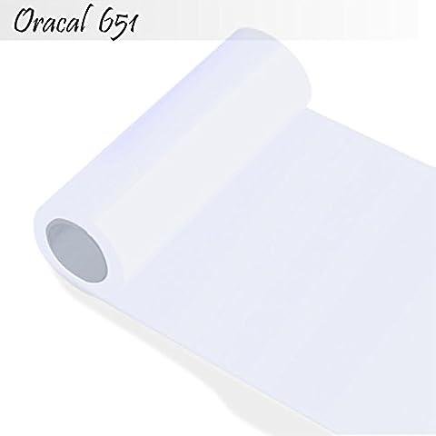 Oracal 651–pellicola Orafol per credenze e decorazioni 50cm altezza, larghezza 5m (metro lineare)–rotolo, 10-bianco, 63 cm