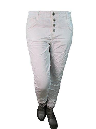 Karostar by Lexxury Denim Stretch Baggy-Boyfriend-Jeans Boyfriend 4 Knöpfe offene Knopfleiste weitere Farben (XL-42, White)