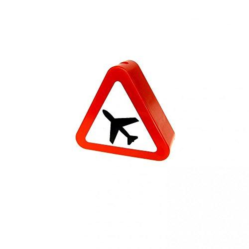Preisvergleich Produktbild 1 x Lego Duplo Motivstein Dreieck rot 1x3x2 bedruckt Verkehrs Zeichen Flugzeug Schild Bild Bau Stein 7840 42025 pb05