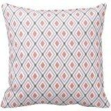 Ikat Pattern Gray Pink Peach Throw Pillow Case
