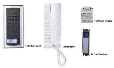 o9q-Farfisa 1AEXD 3-Wege-Tür Eintrag Audio Intercom Kit exhito-agora Oberfläche montiert Entry Panel, 3x Mobilteile & 2x Call Tasten Audio Entry Kit