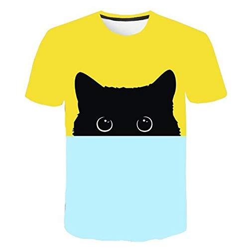 Männer Frühling Sommer Männer T-Shirts 3D Gedruckt Tier t-Shirt Kurzarm Lustige Design Casual Tops Tees Männlich,Zweifarbiges lässiges Blau 3XL