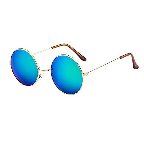 er Vintage Retro Brille Unisex Driving Round Frame Sonnenbrille Eyewear Runde Mit Schmalem Metall Gestell(E) ()