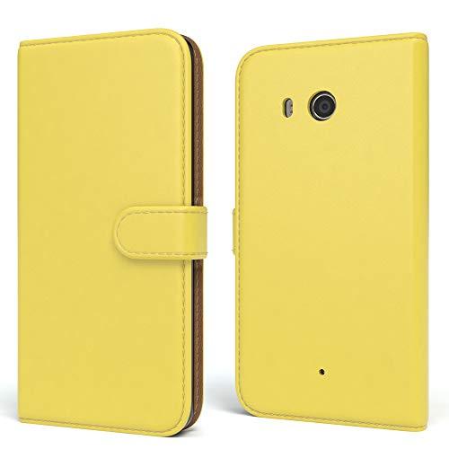 EAZY CASE HTC One (M8) / (M8s) Hülle Bookstyle mit Standfunktion, Book-Style Case aufklappbar, Schutzhülle, Flipcase, Flipstyle, Flipcover mit 2 Kartenfächern aus Kunstleder, Gelb