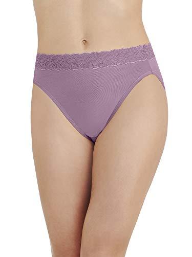 Vanity Fair Damen Flattering Lace Cotton Stretch Hi Cut Panty 13395 Unterhose, Serene Mauve, Large - Slip Bikini Hanes