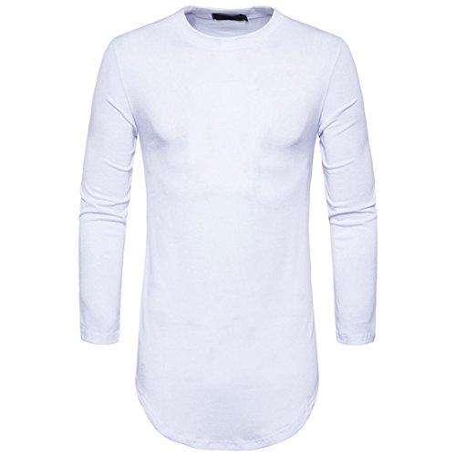 Btruely Herren T-Shirt Casual Bluse Junge T-Shirt Männer Langarm Shirt V-Ausschnitt Top Slim Fit Hemden Herren (S, Weiß)