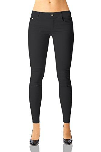 Damen Hose Treggings Skinny (Röhre weitere Farben) Nr.359, Grösse:42 XL, Farbe:Schwarz