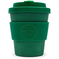 Ecoffee Cup Taza de café de bambú Reutilizable de 250 ML, Color Verde Oscuro