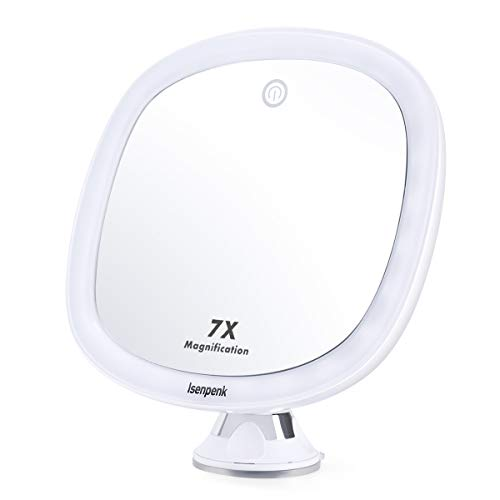 ISENPENK LED Espejo de Baño Espejo de Pared Baño con 24 LED Luz 7X Aumentos, Espejo de Maquillaje con Ventosa Botón Táctil para Ajustar luz, Rotación 360°, para Maquillaje Afeitado Cudidado Facial