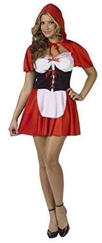 Damen Sexy Rotkäppchen Halloween Party Märchen Buch Tag Woche Verkleidung Kleid Kostüm Outfit - Rot, Rot, UK 12-14
