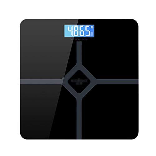 YDS SHOP Elektronische Haushaltswaage, Multifunktionswaage Personenwaage Personenwaage Obstwaage, Hochfestes Hartglas, LCD-High-Definition-Display, Wägebereich 0,2-180 kg (Color : Black) Definition-lcd