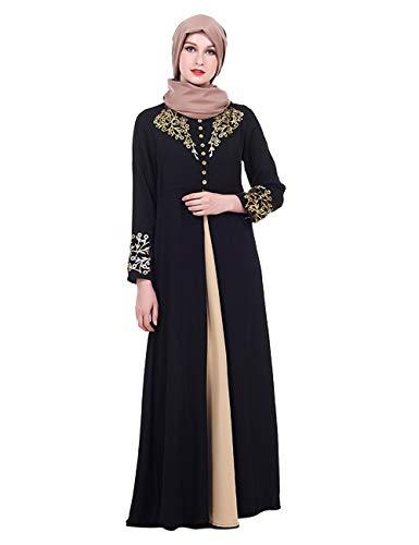 TAAMBAB Mujeres Maxi Abaya Bata Marroquí Kaftan Caftan - Vestido Manga Larga Ropa Jilbab Islámica Musulmana Turca Árabe Robe Túnicas Blusa Disfraz