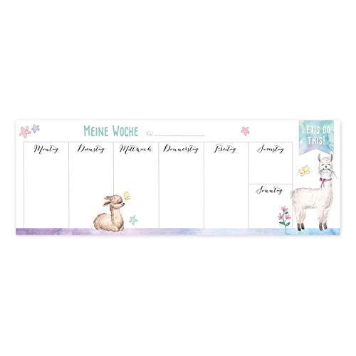 quer 30 Blatt zum Abreißen, Planer klein, Wochenplaner ohne Datum, Weekly Planner, Wochenkalender Familie, Wochenplan Kinder, Schüler, Studenten, Notizblock, Motiv Alpaka ()