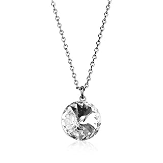 The Outlet London Swarovski Crystal Bella Rhodium-Plated Silver Necklace RRP £69
