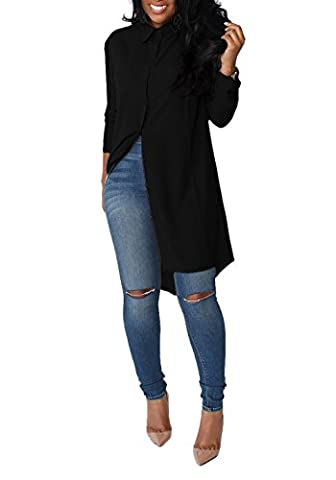 Aitos Femme Chemise Longue Fluide Elegante Chic Manches Longue Classique Mini Robe de Mousseline de Soie Chemisier Blouse Noire 42-44/ XL