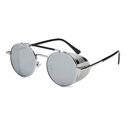 Kunfang Herren Steampunk Round Metal Circle Polarisierte Sonnenbrille UV400 Unisex Punk Coole Sonnenbrille