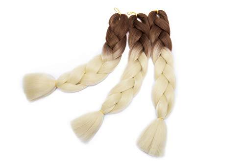 Extension di capelli sintetici in kanekalon da 61 cm, treccine intrecciate all'uncinetto, 3 ciocche da castano chiaro a bianco di riso