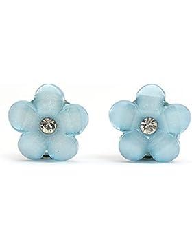 Idin Kinder Ohrclips - Blaue Blumen mit Strass (Größe: ca. 16 x 16 mm)