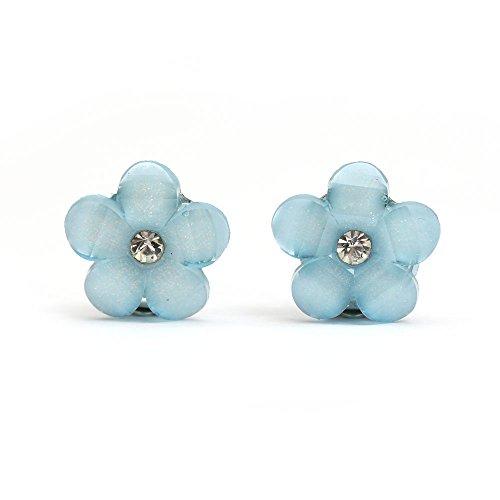 Idin Boucles d'oreilles à clip - Fleur bleue avec strass (env. 16 x 16 mm) (env. 16 x 16 mm)