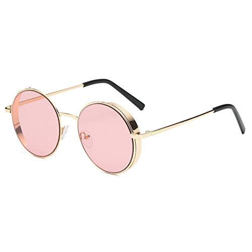 Sonnenbrille,Sonnenbrille Frauen Männer Sommer Mode Neue Abgerundete Metallrahmen Classic Sonnenbrille Golden Pink