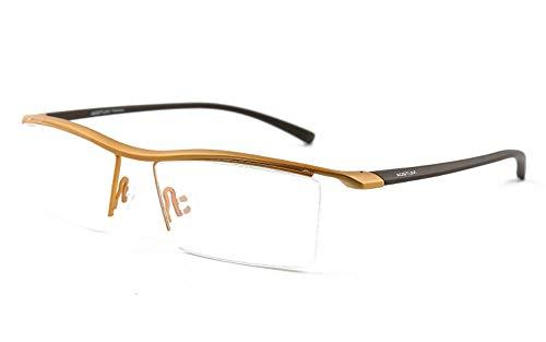 Glücklich zusammen Mens Pure Titanium Semi-randlose Brillen Business Optische Gläser Rahmen Klare Linse (Color : Gold)