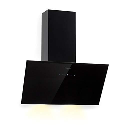 Klarstein Laurel 60 Black Edition Extractor de humos Campana extractora de pared (3 niveles de extracción, 350 m³/h, 64 dB, 60 cm, Pantalla táctil LED)