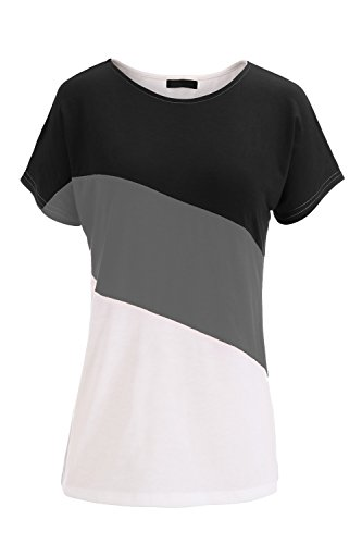 Damen T-Shirt Black & Gray & White
