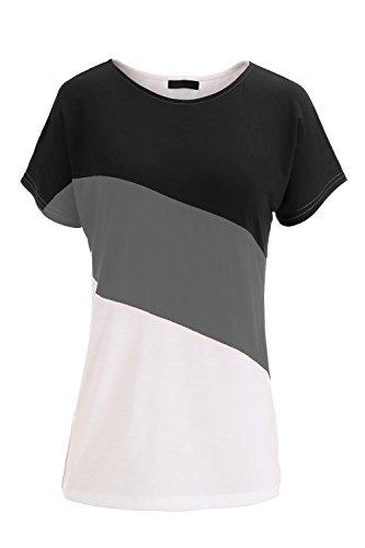 Damen T-Shirt Black&Gray&White