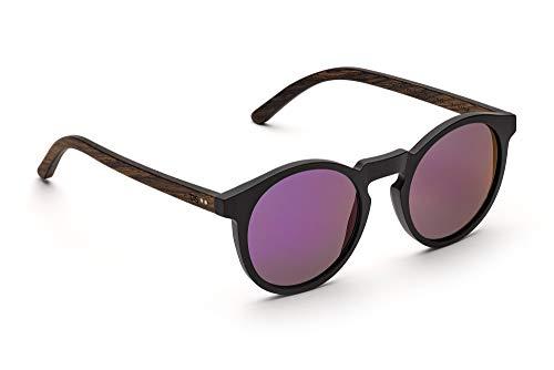 TAKE A SHOT - Schmale runde Holz-Sonnenbrille Damen, Holz-Bügel und Kunststoff-Rahmen, UV400 Schutz, rückentspiegelte Gläser