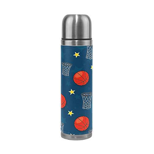 Wasserflasche Basketball Sterne Netz Schießen Navy Edelstahl PU Leder Vakuum Isolierte Reise Becher 17oz doppelwandig Kaffee Tasse Flasche (Flüssigkeit Heiße Schießen)