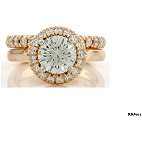 2pc 1,58ct taglio brillante rotondo fidanzamento & Diamond 14K oro rosa massiccio matrimonio anniversario amore anello Set, tutte le dimensioni UK H a Z