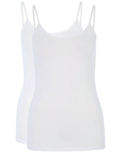 Berydale Damen Top BD311 2er Pack, Weiß (Weiß), 40 (Herstellergröße: L)