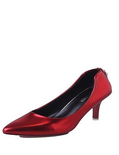 GS~LY Damen-High Heels-Lässig-Kunstleder-Stöckelabsatz-Absätze-Schwarz / Rot / Silber black-us6 / eu36 / uk4 / cn36