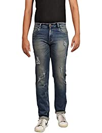 Denim Vistara Men's Blue Torn Ripped Regular Fit Jeans
